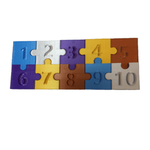 3D Printed Jigsaw Pieces Numbered 1-10 Image